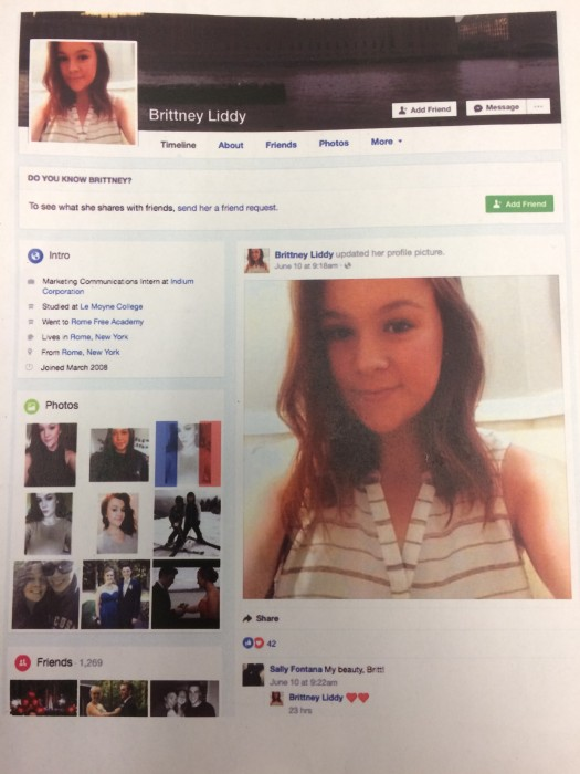 My Facebook Profile print out.
