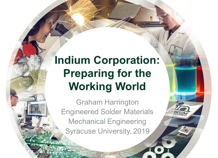 This week we were required to present for less that 5 minutes about our experience at Indium Corporation
